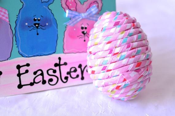 SALe... Cute Easter Egg Ornament, Pink Bowl Filler, Handmade Easter Egg Decoration, Hand Coiled Fiber Easter Egg, Basket Filler