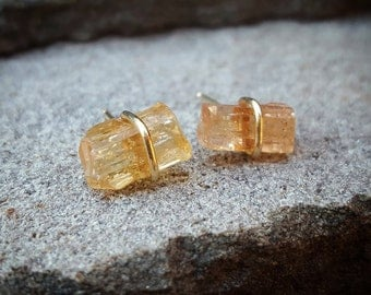 Imperial Topaz Earrings Imperial Topaz Studs Raw Crystal Earrings 14K Gold Raw Crystal Jewelry November Birthstone Womens Gift Rough Topaz