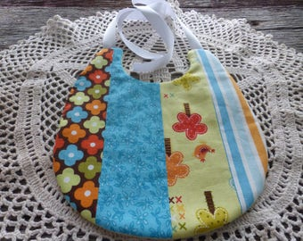 Baby Bib in Colorful Cotton Fabric (Reversible)