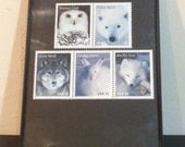 """Arctic animals - Recycled Postage Stamp Framed Art 4""""x6"""", 4x6, owl, polar bear, wolf, fox, white rabbit, Unused stamps, uncirculated, new"""