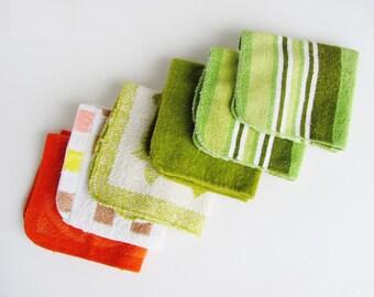 Vintage Bath Towel Six Assorted Wash Cloths Set Martex Fieldcrest Orange Pequot Cannon Avocado Green St. Mary's