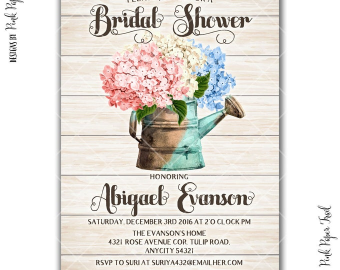 Rustic Garden Party Bridal Shower Invitation, Tea Party Flower Floral Spring Summer Printable Invitation