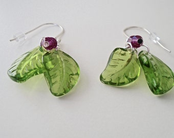 Women's Dangle Leaf Earrings, Eco Earrings, Green Leaf and Swarovski Crystal Earrings.