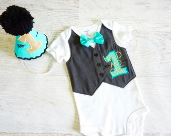 First Birthday Wild ONE Grey Tuxedo Bodysuit Vest with Removable Matching Bow Tie