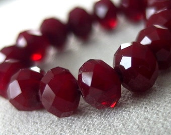 "SPECIAL  - TWO Strands Deep Rich Red Faceted Opaque Crystal Rondell Beads, 8mm x 6mm, 8"" each, 36 pieces each strand, 72 total"