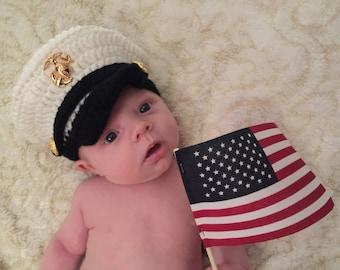 Baby Marine Hat, Newborn Marine Hat, Crochet Marine Hat, Newborn Hat, Military Hat, Marine Cap, Newborn PHOTO PROP, Baby Hat