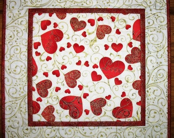Valentine Table Topper  Hearts, quilted,  fabric from Hoffman