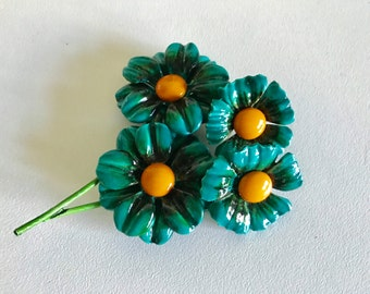 Vintage Flower Pin and Earring Set