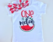One In A Melon Watermelon shirt and knot headband.