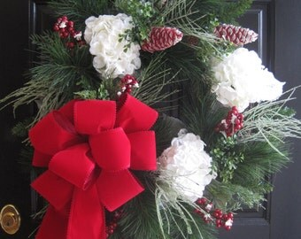 SALE- Christmas Wreath, XL Front Door Wreath, Red Ornamental Pinecones, Snow White Hydrangea Wreath, Evergreen Winter Wreath