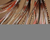 13 Coral and Brown Tie Dyed Hair Feathers