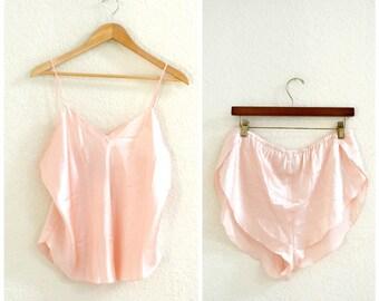Vintage Silk Lingerie Set Pink Shorts and Camisole Size large// Vintage Silk Pink blush lingerie Cami and Underwear Pajamas Sleep Shorts