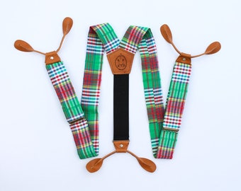 Green Plaid with Light Tan Leather Button On Suspenders // Mens Braces // Groom Outfit // 1.5 inches wide // Easter Outfit  Fancy Suspenders