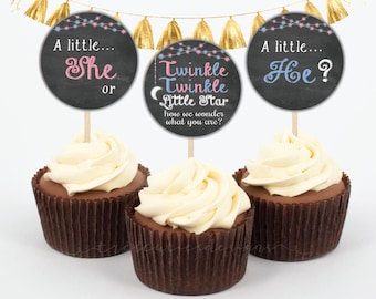 Twinkle Twinkle Little Star Cupcake Toppers - 2inches - Gender Reveal - Instant Download