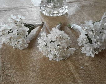 3 bunches vintage WHITE BABIES BREATH cloth 36 stems millinery flowers