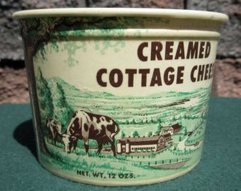 Vintage Country Store NOS Creamed Cottage Cheese Wax Container ~ Kimmels Dairy