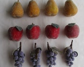 12 Beaded Fruit Magnets - 4 each of Pear, Apple, and Grapes - Vintage - GS5F