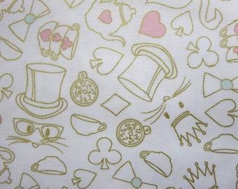 Wonderland 2 Tea Party White Sparkle Fabric -Riley Blake SC5774