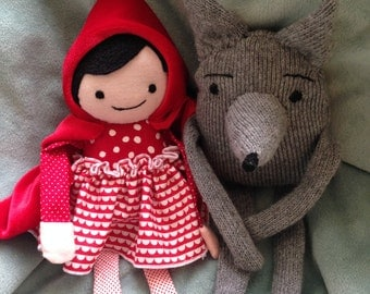 Wolf and Red Riding hood dolls gray wolf red hood