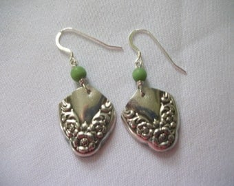 Beautiful pair of earrings handcrafted from antique silverware in a free handmade gift box