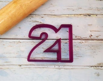 21 or Twenty One or Twenty First Number Cookie Cutter and Fondant Cutter and Clay Cutter