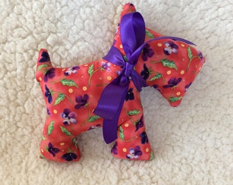 Stuffed Scottie Dog - plush - coral and purple pansy floral