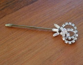 Large Rhinestone Comet Hair Pin, Vintage Repurposed, Wedding Bridal, Holiday
