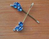 Blue Sparkle Rhinestone Hair Pins, Vintage Repurposed, Bridal, Wedding, Holiday