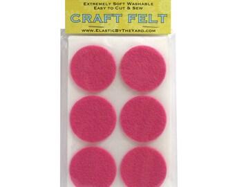 """48 - 1.5"""" Med Pink Adhesive Felt Circles"""