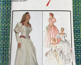 1998 Style Sewing Pattern 2757 Misses Puff Sleeve Wedding Dress Formal Gown Size 6-12  cut- bridal gown, wedding dress, formal dress,bride