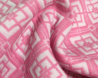 """1960/70's Hot Pink Geometric Print Polyester Double Knit Fabric 62"""" x 2 Yards + 18""""- 1970's double knit,blue  polyester double knit fabric"""