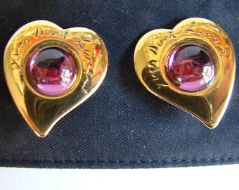YSL Yves Saint Laurent Purple Heart Earrings