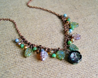 flower garden beaded necklace, glass bead necklace, copper, floral jewelry, beaded jewelry