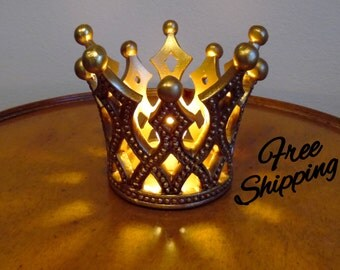 Antiqued Golden Crown Accent Lamp Night Light