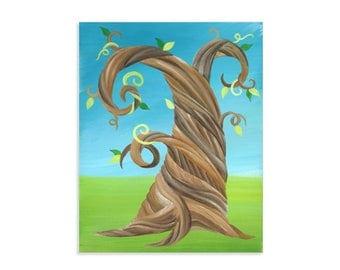 Whimsical Twisty Tree Original Art Print