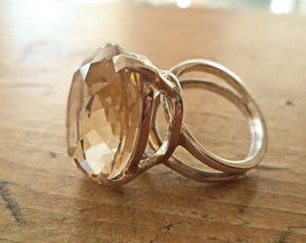 Huge Vintage Lemon Quartz Sterling Statement Ring Size 7.5