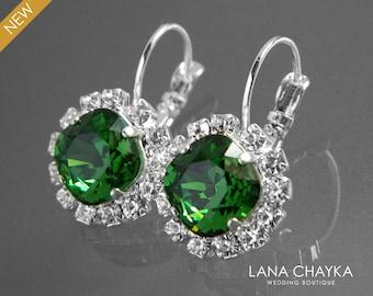 Green Crystal Halo Earrings Swarovski Dark Moss Rhinestone Earrings Green Silver Leverback Wedding Earrings Bridal Bridesmaid Green Jewelry