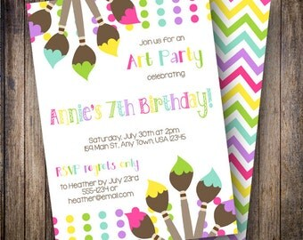 Art Party Birthday Party Invite, Painting Party, Art Party Invite, Paint Brushes, Paint Party Invite, Polka Dots, Rainbow Colors
