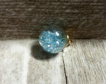 Glass Ball Charm Glass Ball Pendant Blue Rhinestones Glass Globe Pendant Crystal Ball Charm Ball Charm Clear Glass Ball Charm Glass Pendant