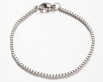"Bracelet Blank Steel Chain Bracelet Stainless Steel Bracelet Silver Bracelet Blank Silver Bracelet Blank 7.5"" Wholesale Bracelet"