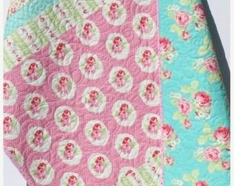 Girl Quilt, Toddler Bedding, Crib Blanket, Roses Tanya Whelan Lola, Pink Aqua Yellow Green, Nursery Decor, Flowers Shabby Chic Cottage