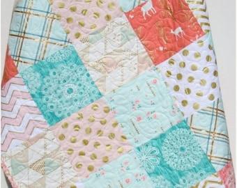 Gold Baby Quilt, Rustic Girl Crib Bedding, Deer Blanket, Shimmer Glitz, Coral Pink Grey Gray, Nursery Decor, Brambleberry, Woodland