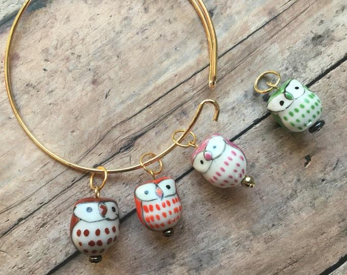 Featured listing image: Stitch Marker Bracelet - Colorful Owls