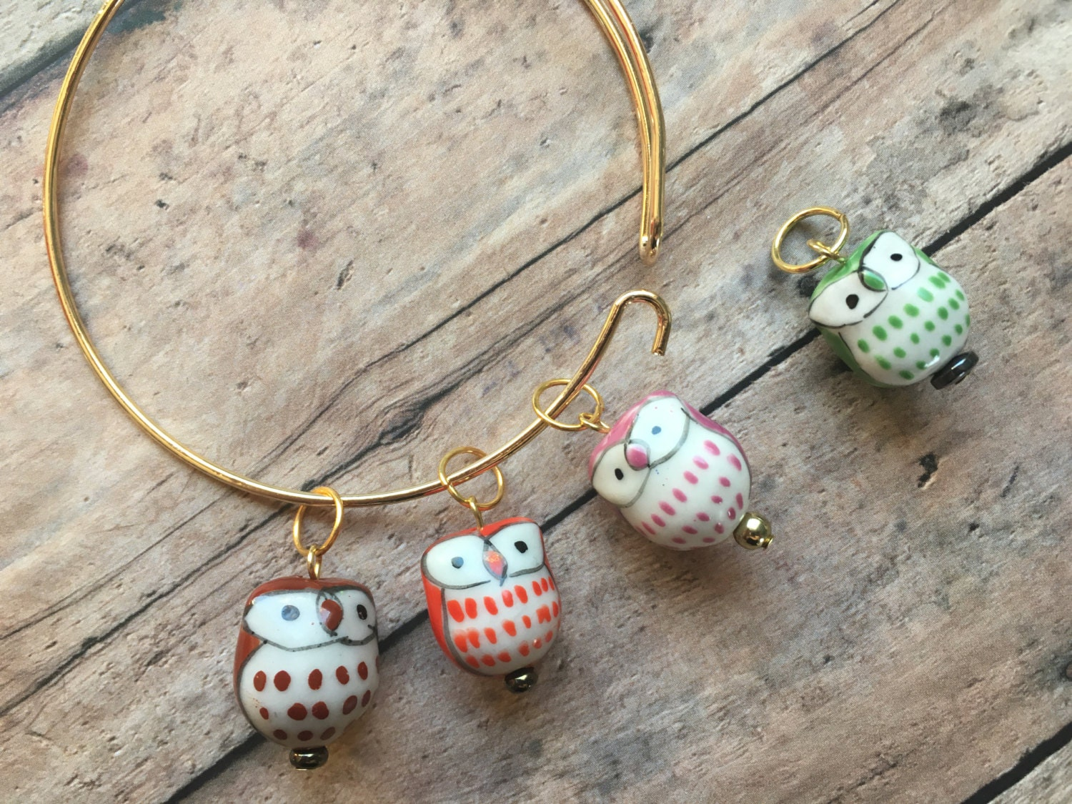 Knitting Markers Etsy : Stitch marker bracelet colorful owls from thesexyknitter