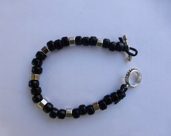 Men's Black and Silver Bracelet