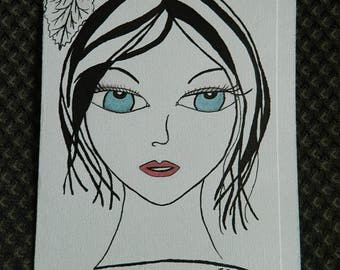 Sumi-e ink card (hand drawn and with mixed media)