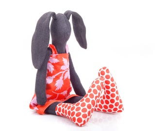 Black bunny doll , softie plush rabbit , stuffed bunny , rabbit hare doll , soft toy , fabric toy , hand-made  , rag doll  , girl gift