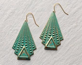 Green Deco Earrings ... Geometric Chandelier Art Nouveau Verdigris Turquoise