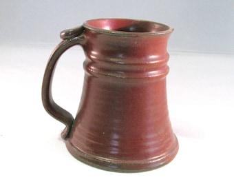 Rust Red Stein - Red Tankard - 24 oz. - Coffee Mug - Renaissance Stein - Handmade Pottery -  Pottersong - Rustic Stein - Rust Red