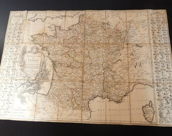 Antique Map of France from 1783 Rare Folding Map